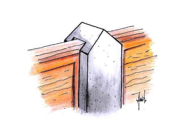 Disegno di pilastro in calcestruzzo con scanalature per recinzioni a pannelli