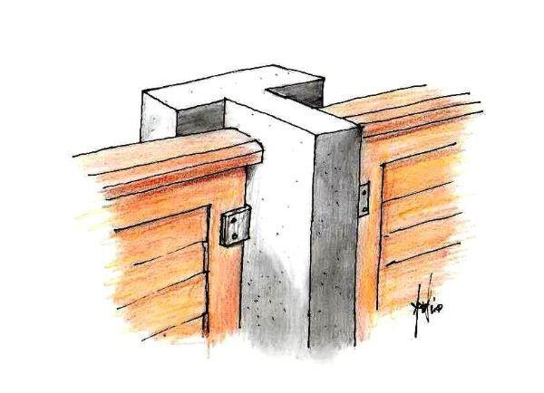 Disegno di pilastro in calcestruzzo a battuta con squadrette di fissaggio sui pannelli