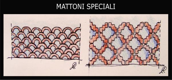 una rappresentazione di murature costruite con l'impiego di mattoni ...