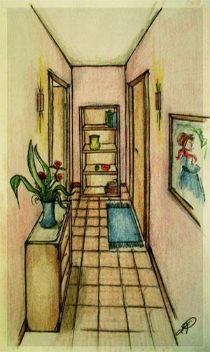 Disegno di un corridoio buio