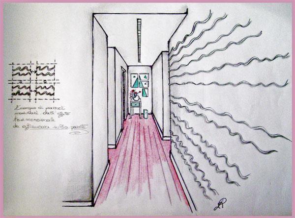 Disegno di corridoio con decorazioni tridimensionali