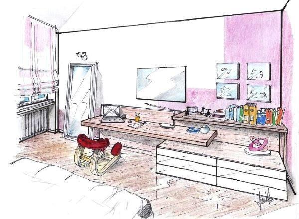 Design of multifunction office wall in the bedroom