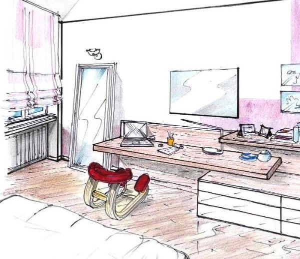 Zona studio in camera una parete multifunzione - Camera matrimoniale con scrivania ...