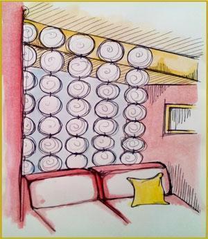 Divisori sospesi per interni separ a ante mobili florinda for Elementi divisori per interni