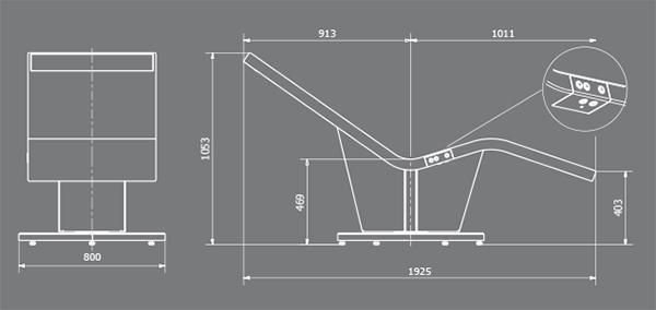 La misura reale del lettino prendisole di Rayvolution, prodotto dell'omonima azienda.
