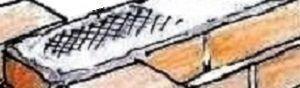 Ferri di rinforzo tra muretti perpendicolari