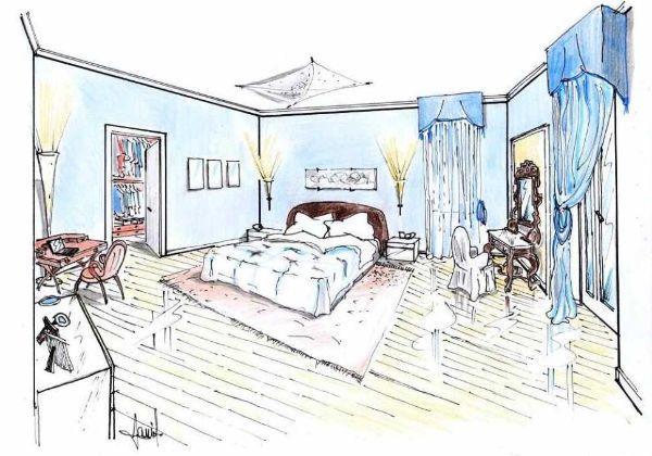 Disegno prospettico di camera da letto in stile classico