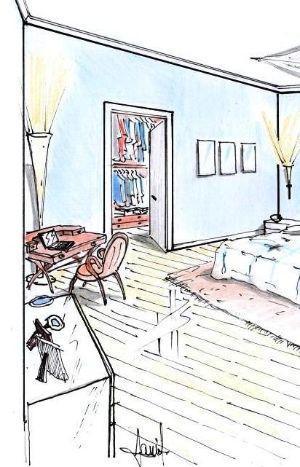 Angolo studio adiacente all'ingresso in cabina armadio