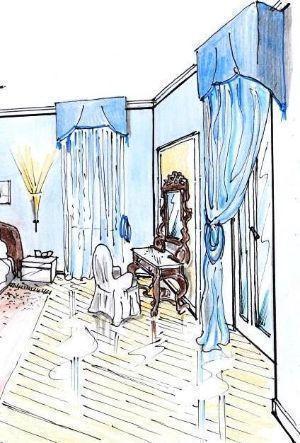 Disegno di zona beauty in camera da letto