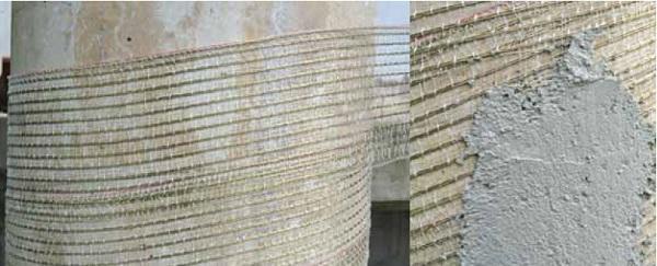 Rinforzo strutturale di pilastri e colonne con reti di Biemme srl- Biagiotti