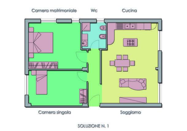 progettare la zona giorno: due soluzioni differenti - Soggiorno Con Angolo Cottura 16 Mq 2