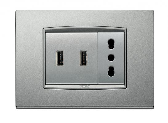 Presa a muro con porta USB modello satinato di BTicino