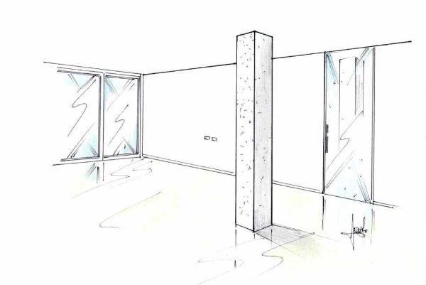 Disegno di pilastro portante entro la zona giorno