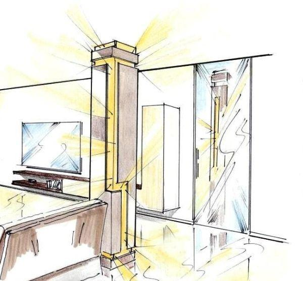 In soggiorno, il pilastro si riflette nella porta in cristallo