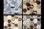 Piastrelle esagonali ispirate al cibo, dal catologo dell'Azienda Leonardo Ceramica.