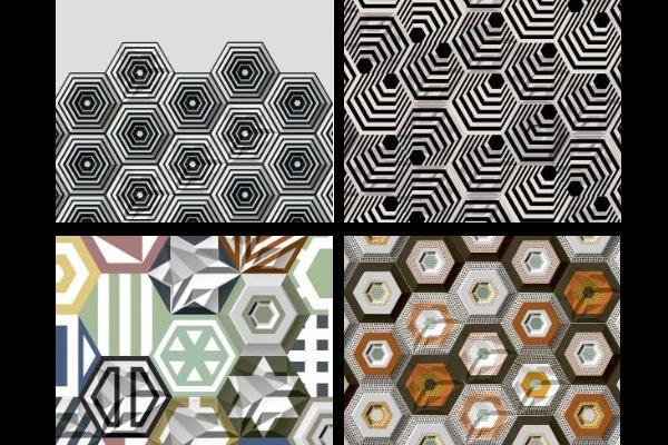 Piastrelle esagonali a composizione modulare, dal catalogo dell'Azienda Leonardo Ceramica.