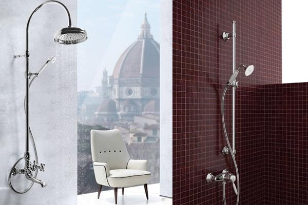 Miscelatori da doccia in stile vintage completi di doccetta e soffione, una produzione Rubinetterie Toscane Ponsi.