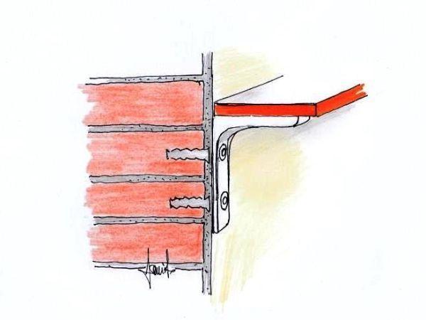 Disegno illustrativo di fissaggio mensole a muro
