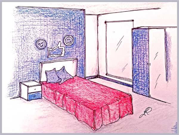 Disegno di camera ragazzi con parete pitturata ad effetto denim