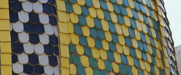 Cupola con manto di copertura in scandole colorate. Una realizzazione dell'Azienda Ceipo.
