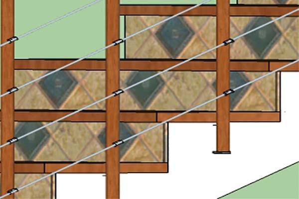Variante ringhiera con piantoni in legno
