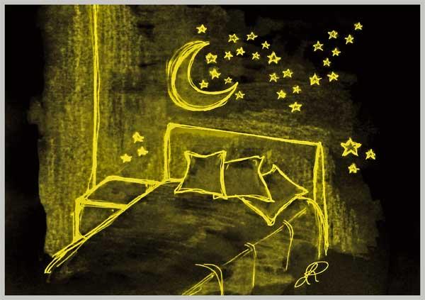 Schizzo di cameretta con muro stellato fotoluminescente