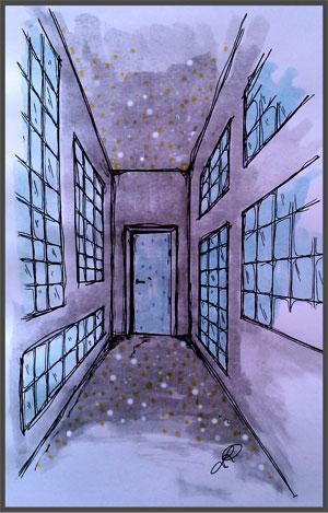 Disegno di un corridoio con materiali fotoluminescenti