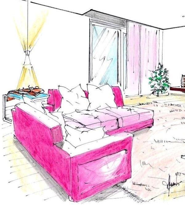 Disegno di divani composti ad angolo