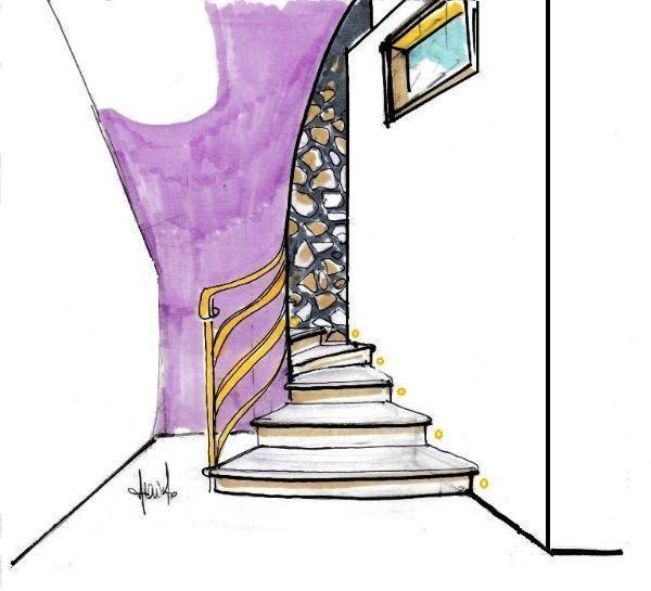 Disegno prospettico di scala curva in muratura