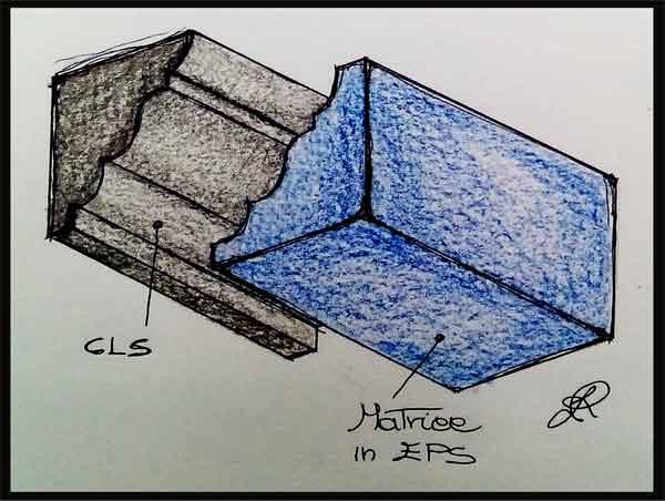 Disegno di matrice in EPS distaccata dal manufatto in CLS