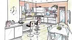 Soluzione di cucina con bancone snack e zona pranzo
