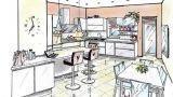 Cucina con bancone e tavolo