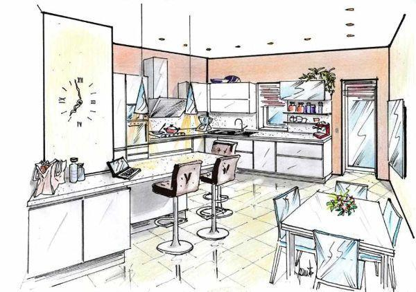 Visione prospettica di cucina con piano snack e zona pranzo