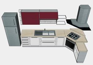 Progetto cucina: composizione con piano cottura ad angolo