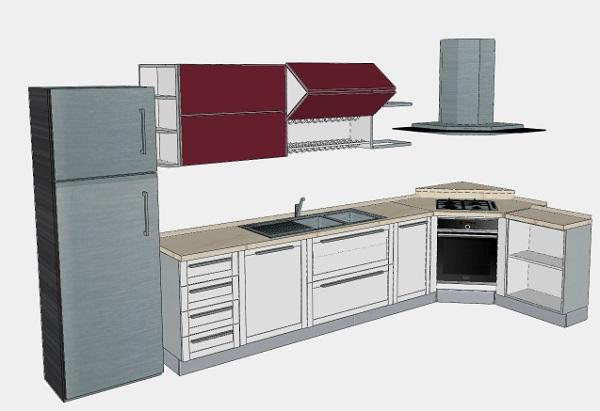 Progetto cucina triangolare: cappa e frigo a libera installazione