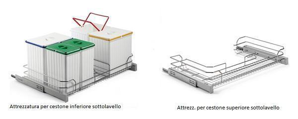 Progetto cucina triangolare: Compagnucci, attrezzature interne per sottolavello in filo di metallo