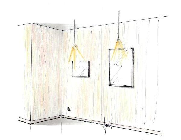 Disegno di pannelli da rivestimento su pareti ad angolo