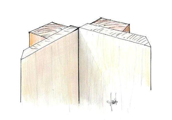 Raffigurazione angolo interno tra i pannelli a parete