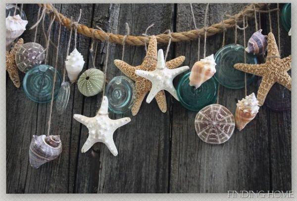 Decorazioni con corde e conchiglie di Findinghomeonline.com
