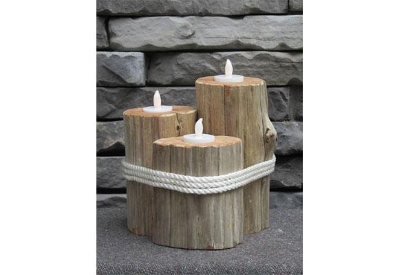 Ceppi in legno e candele legati con corde by Etsy.com