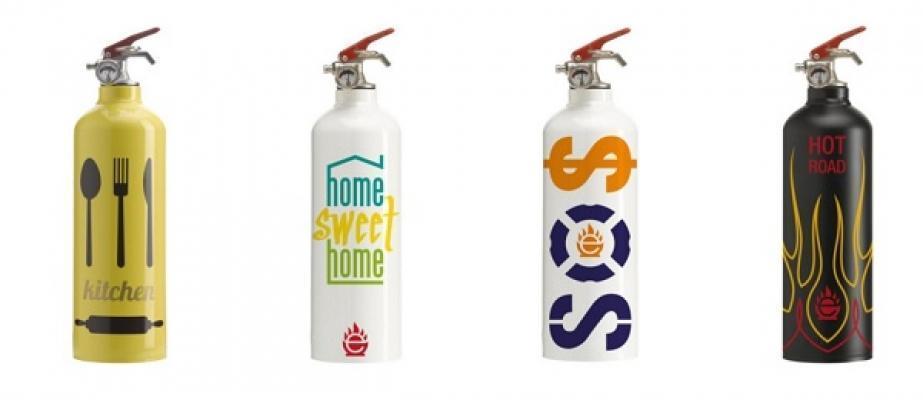 Estintori di design domestici con stampe di Extingua