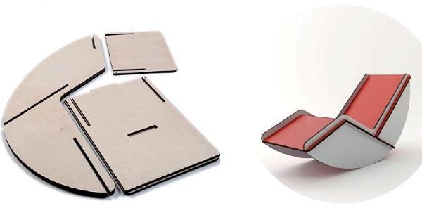 Chaise dondolo ad incastro di Mario Pagliaro Design