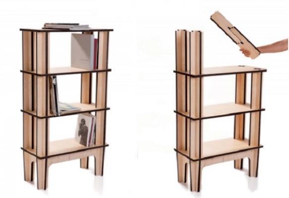 Libreria ad incastro in legno di Mario Pagliaro Design