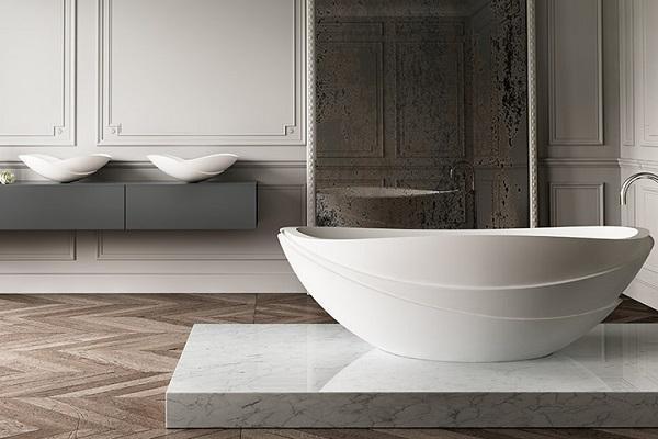 Vasca in pietra Harmony bianca di Apaiser in interno
