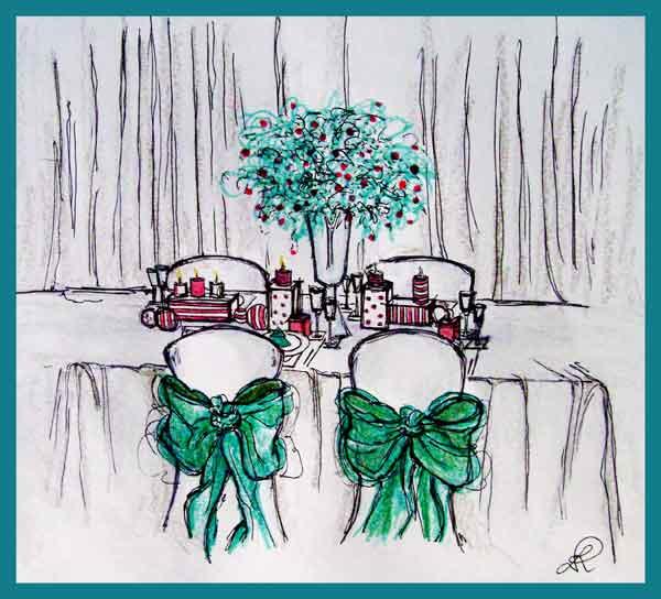 Disegno di mise en place a tema natalizio
