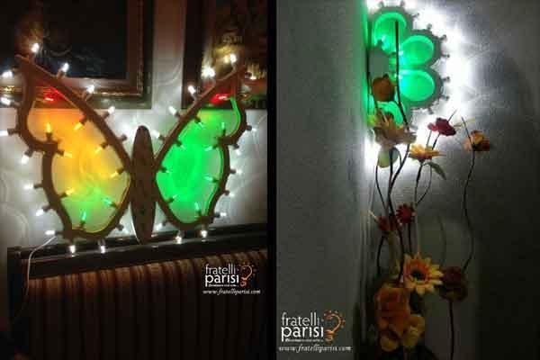 Farfalla e mezzo fiore di luminarie di Fratelli Parisi