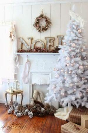 Albero Natale shabby chic total white eclecticallyvintage.com