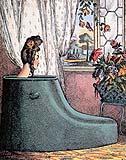 Vasca retrò a stivale, di moda nel XVIII secolo per risparmiare acqua.