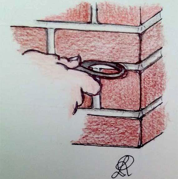 Disegno di ferro tondo per la stilatura dei giunti