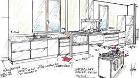 Progetto per cucina con mobili spostabili su ruote